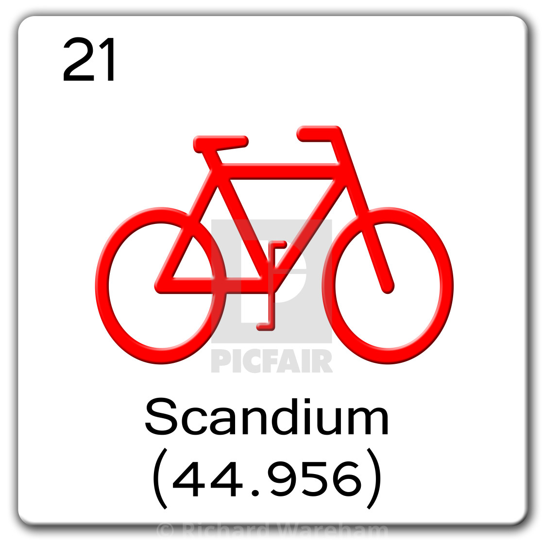 Digital Illustration - Chemical periodic table style tile Sc