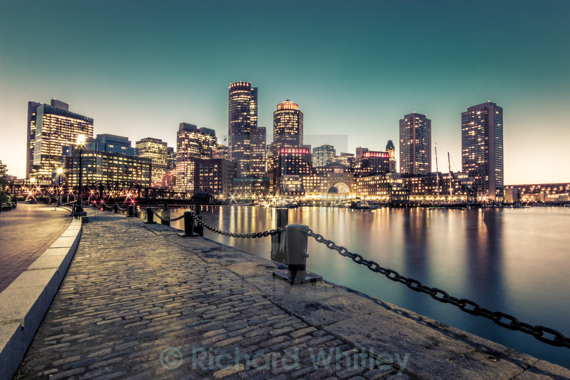 """Harbour at dusk"" stock image"