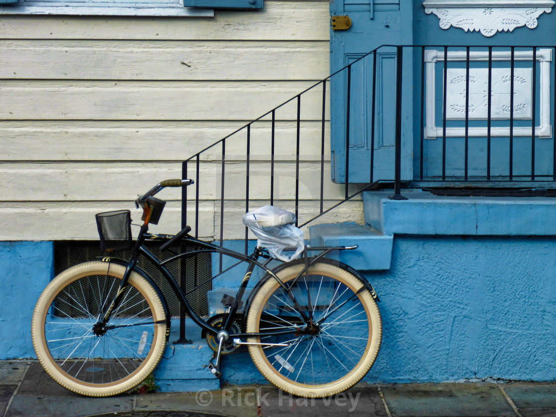 """A bike in back street New Orleans"" stock image"