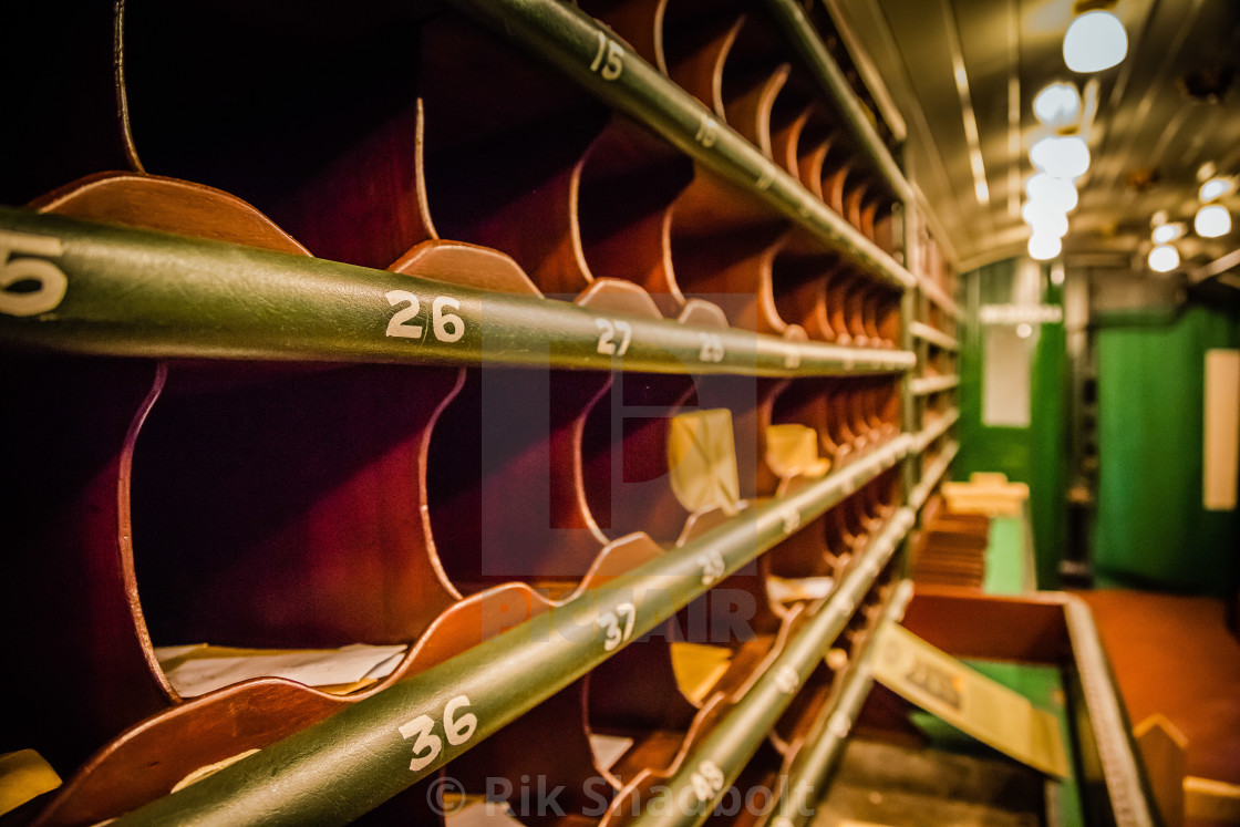 """Old Train mail carriage"" stock image"