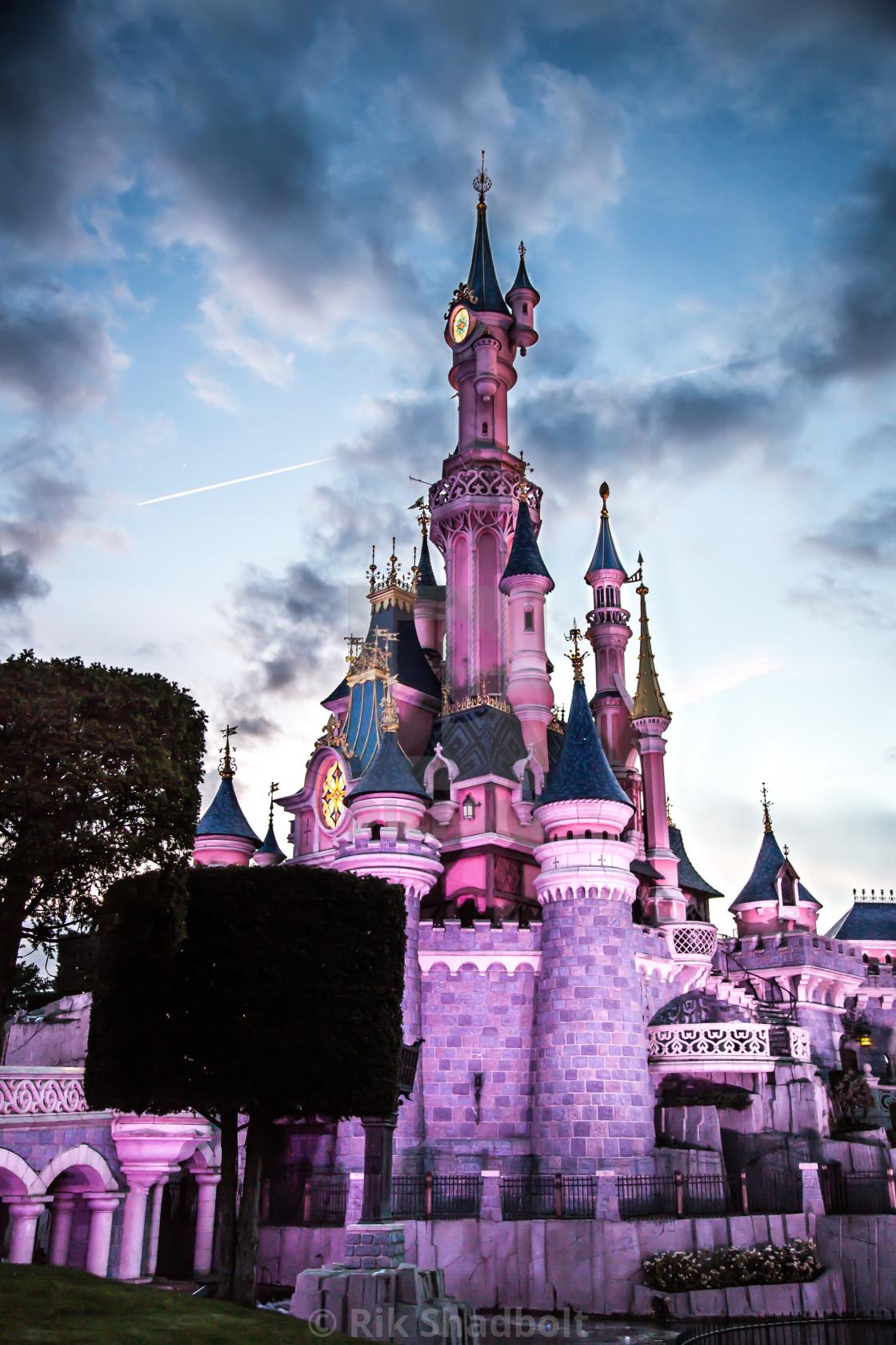 """Disney Castle at Dusk"" stock image"