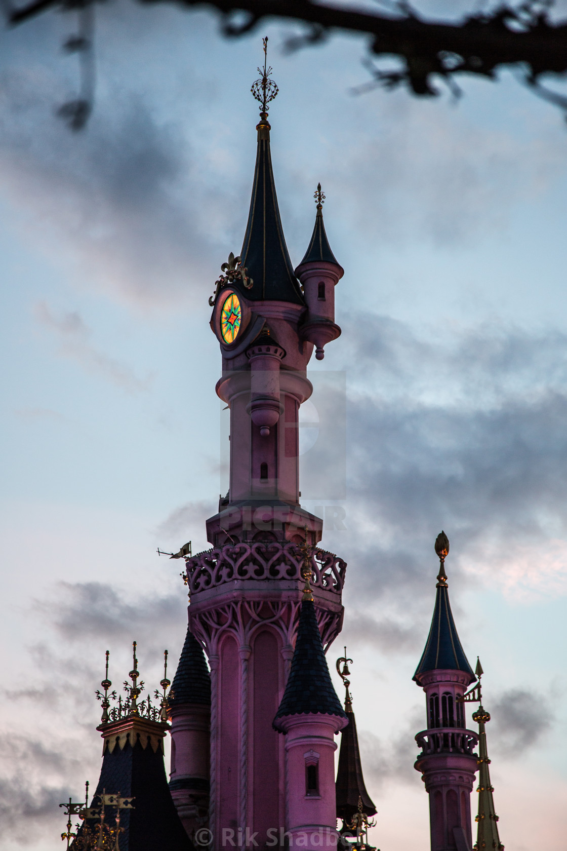 """Castle Tower at Dusk"" stock image"