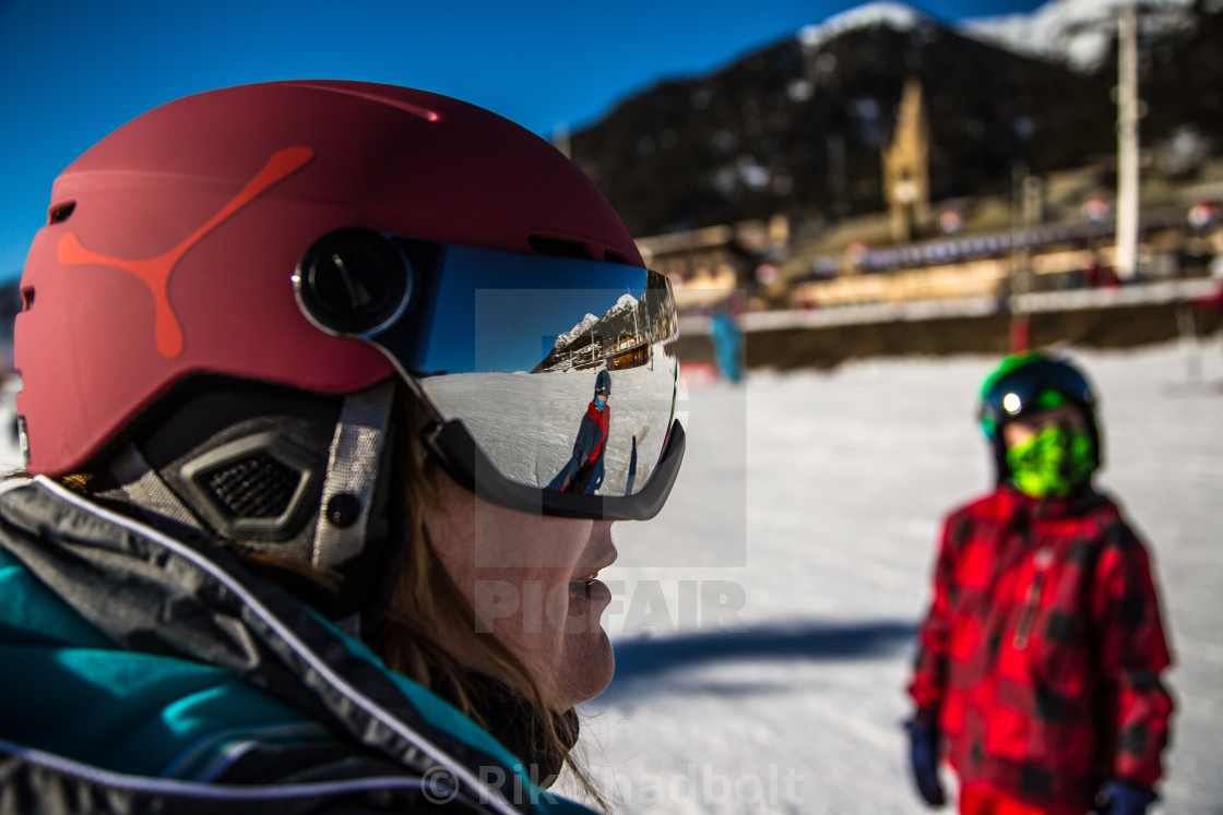 """Ski Reflections"" stock image"