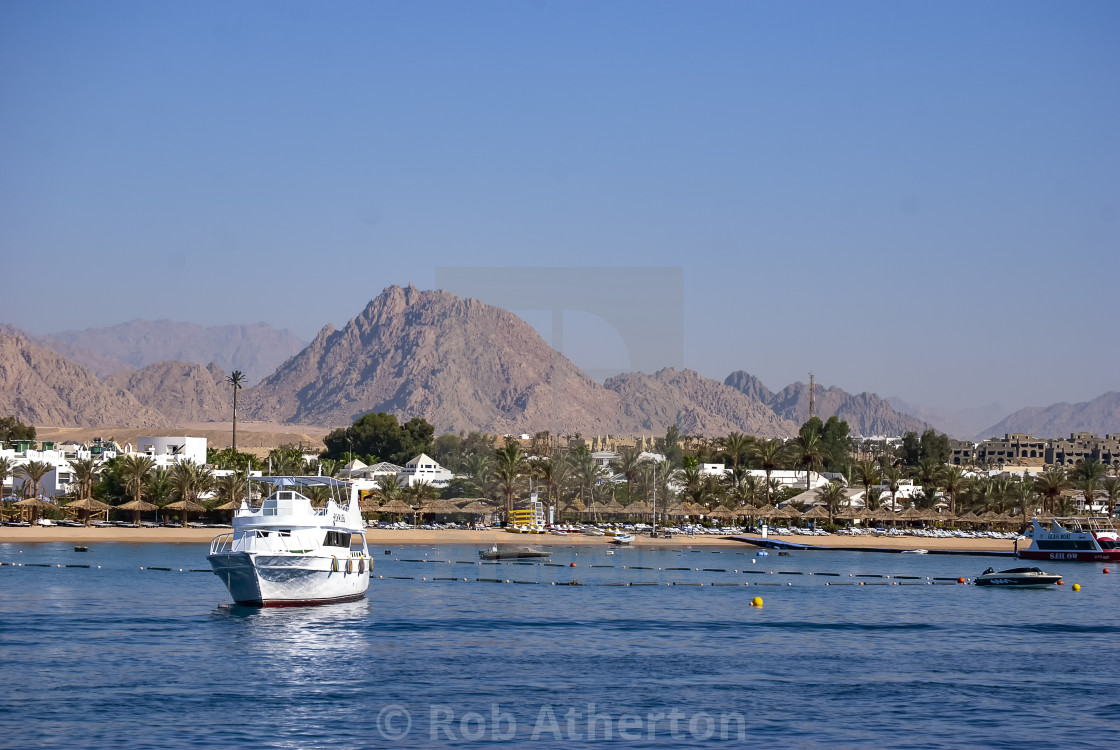 """Leisure boats in Naama Bay, Sharm el Sheikh in Egypt"" stock image"