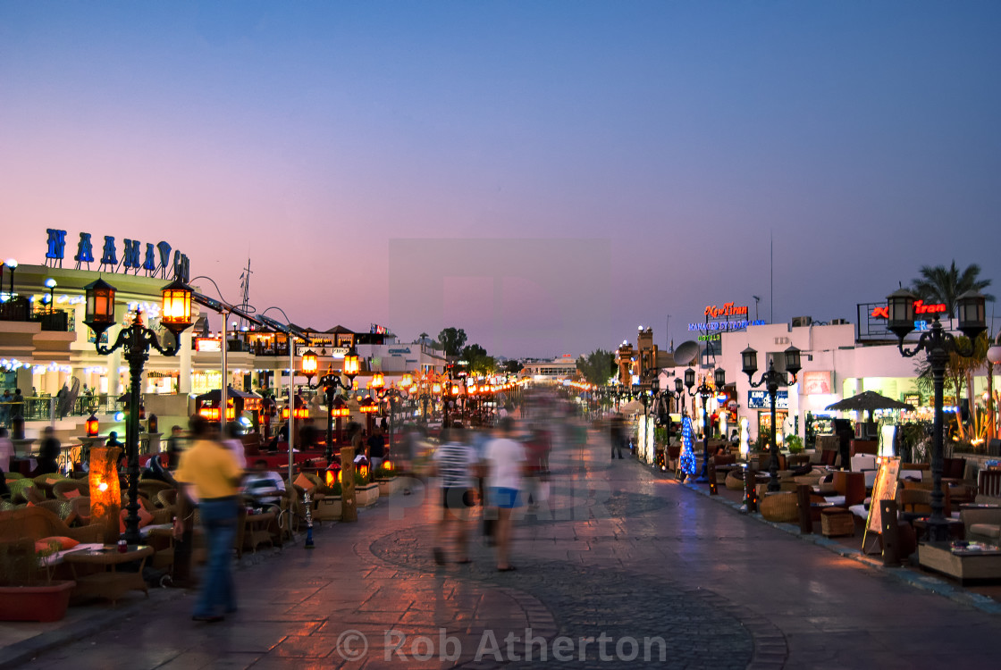 """Night lights of downtown Naama Bay, Sharm el Sheikh in Egypt"" stock image"