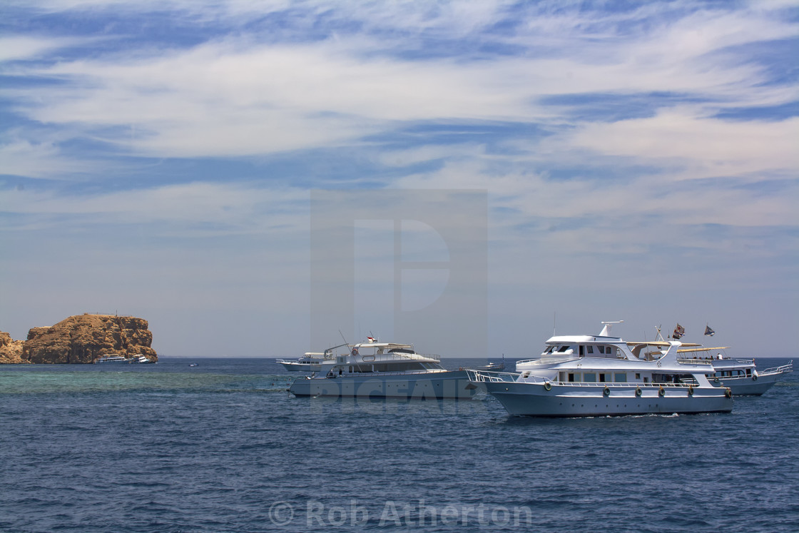 """A dive boat in the Red Sea near Sharm el Sheikh, Egypt"" stock image"