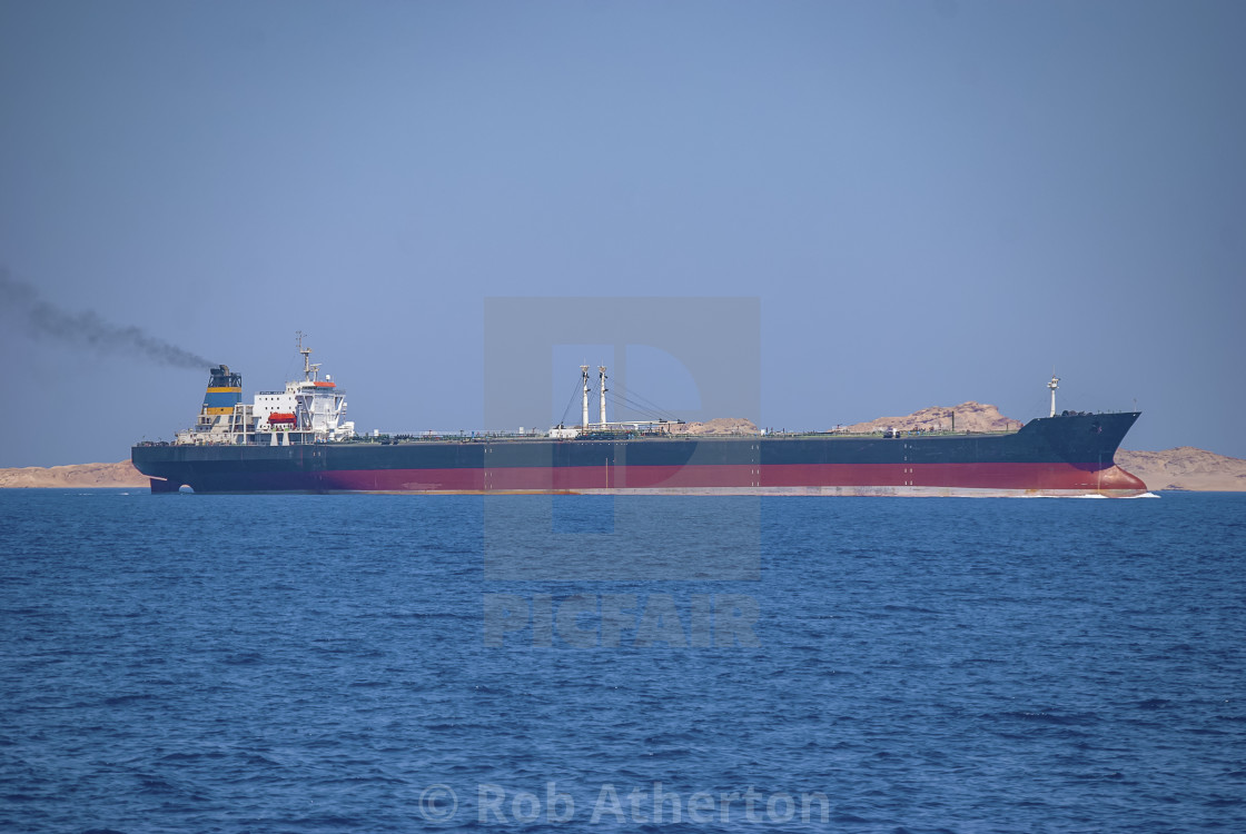 """The oil tanker ""Hero Star"" passing through the Straits of Tiran near Sharm el Sheikh, Egypt"" stock image"