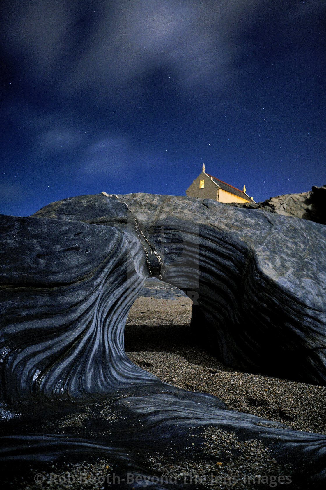 """Little Fistral on a starlit night."" stock image"