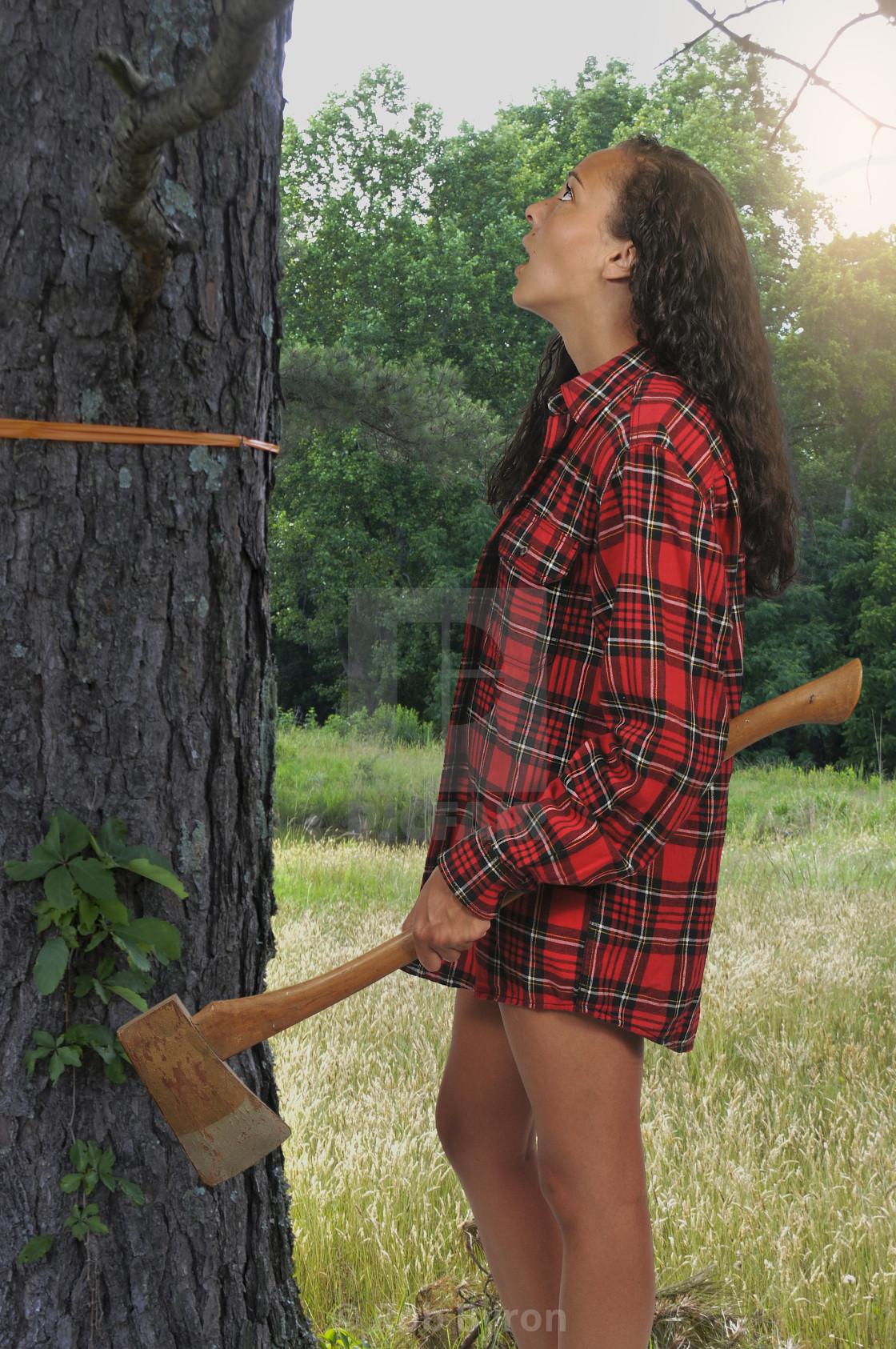 """Woman Lumberjack with an axe"" stock image"
