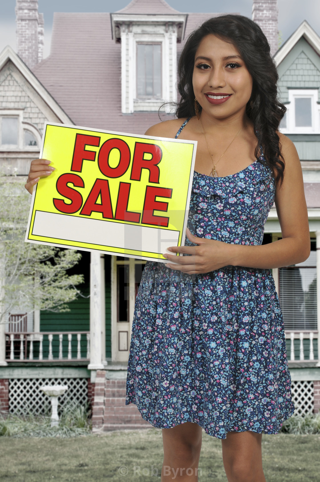 """""""Woman holding for sale sign"""" stock image"""
