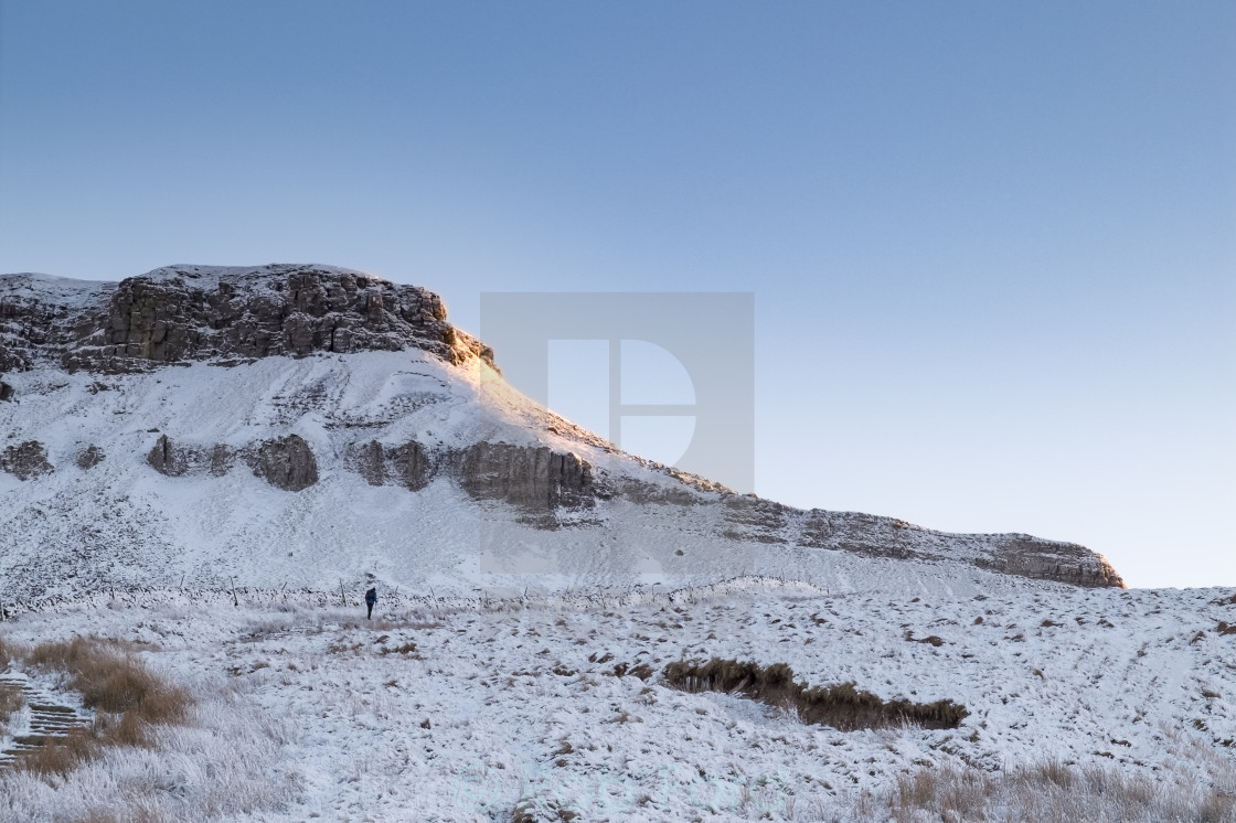 """""""Lone walker on Pen Y Ghent , Yorkshire Dales"""" stock image"""