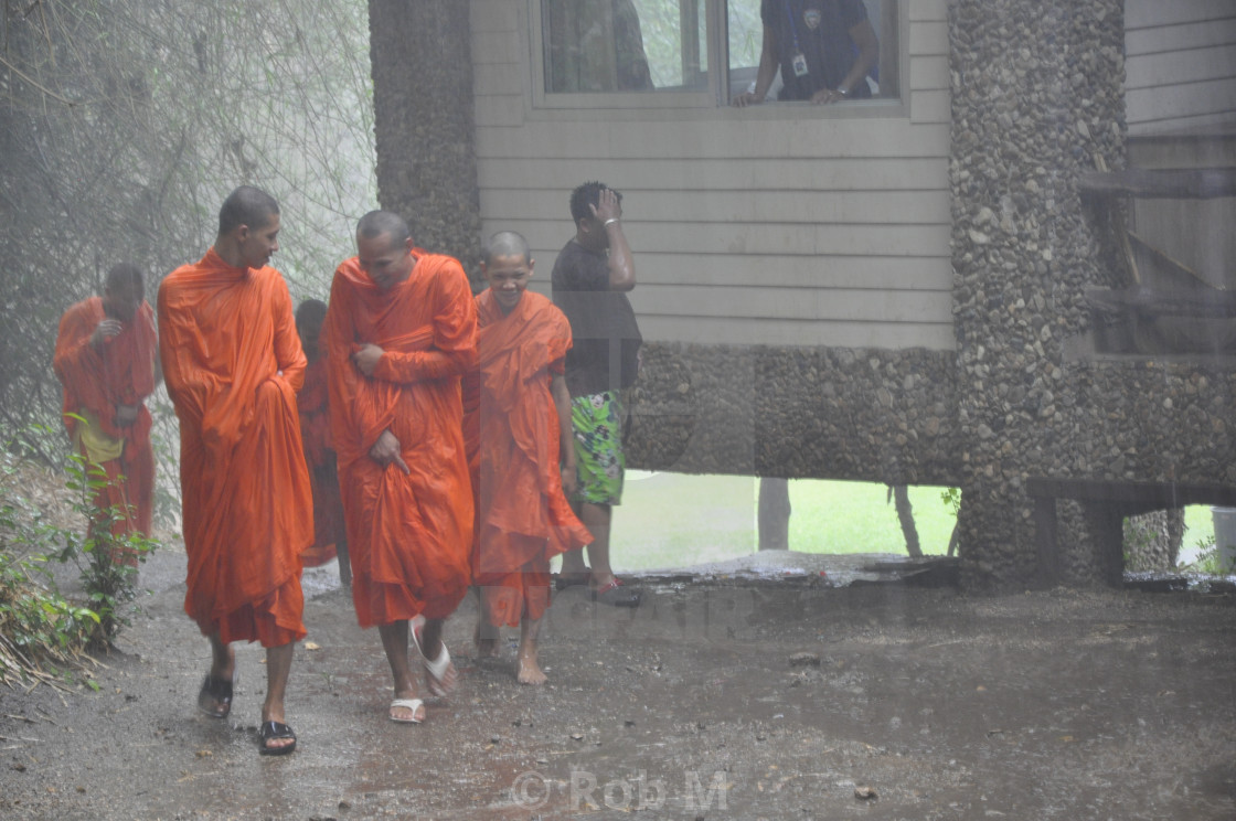 """""""More Monks in the Rain"""" stock image"""