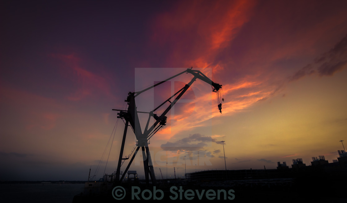 """Sunset Crane"" stock image"
