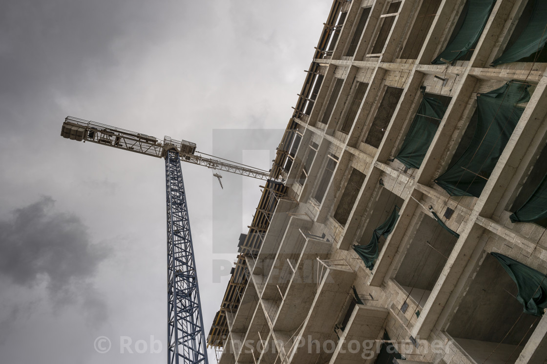 """Tower crane and construction site"" stock image"
