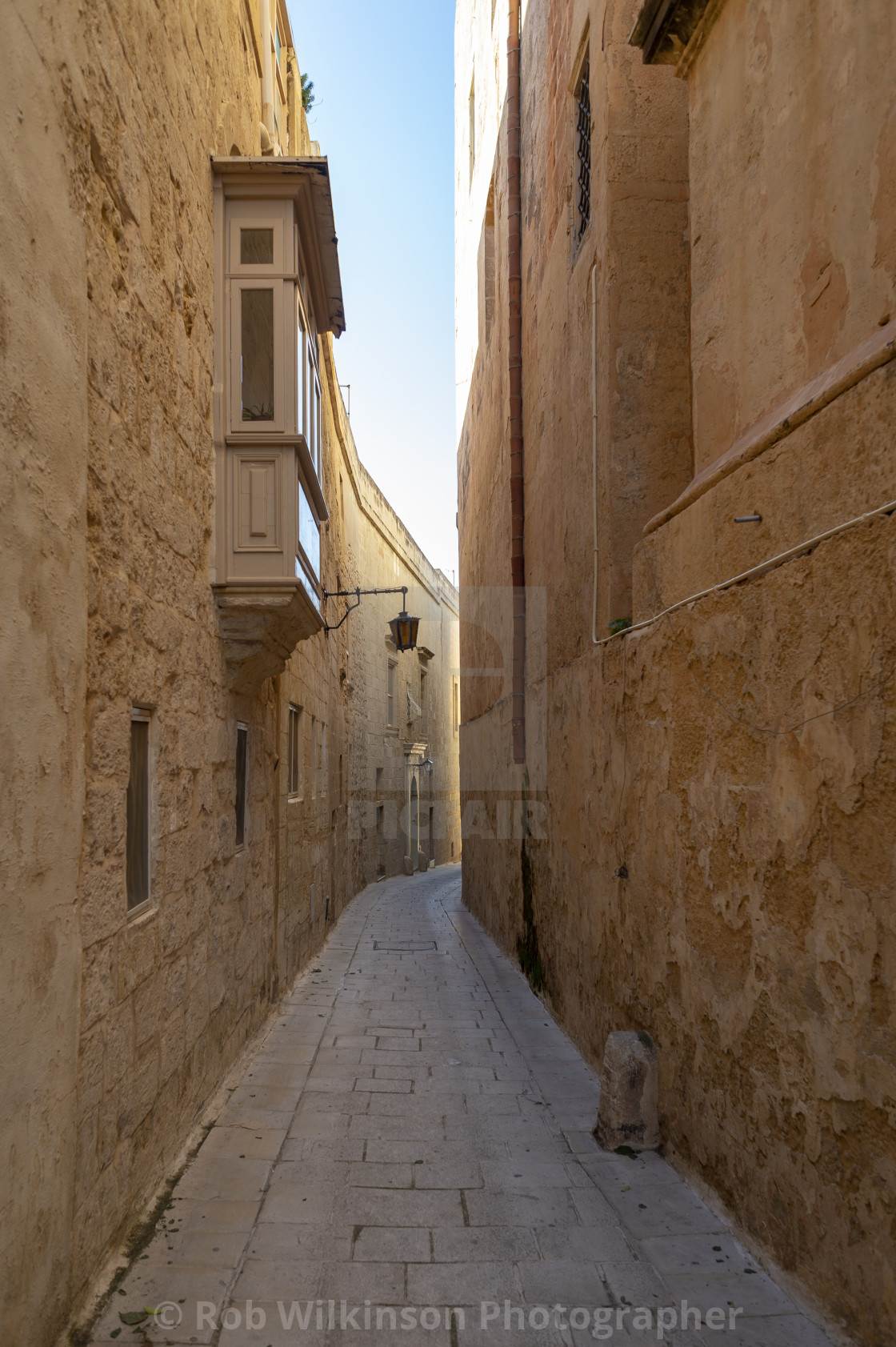 """narrow street in the silent city of Mdina, Malta"" stock image"