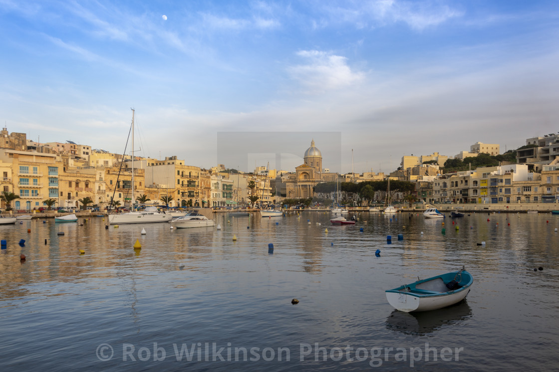 """The picturesque harbour front at Kalkara, Valletta, Malta"" stock image"