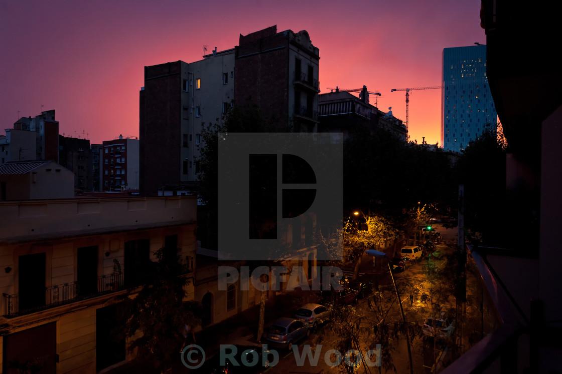 """City Sunset."" stock image"