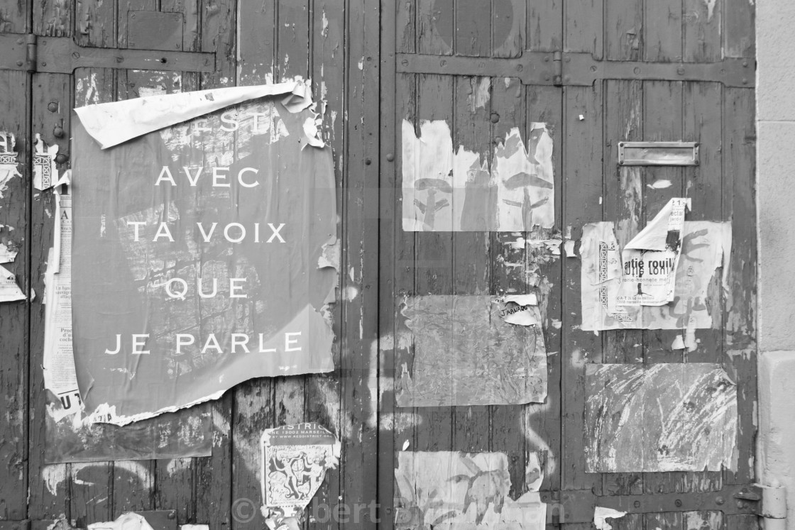 """""""Old Door Poster in Marseille old town district Le Panier"""" stock image"""