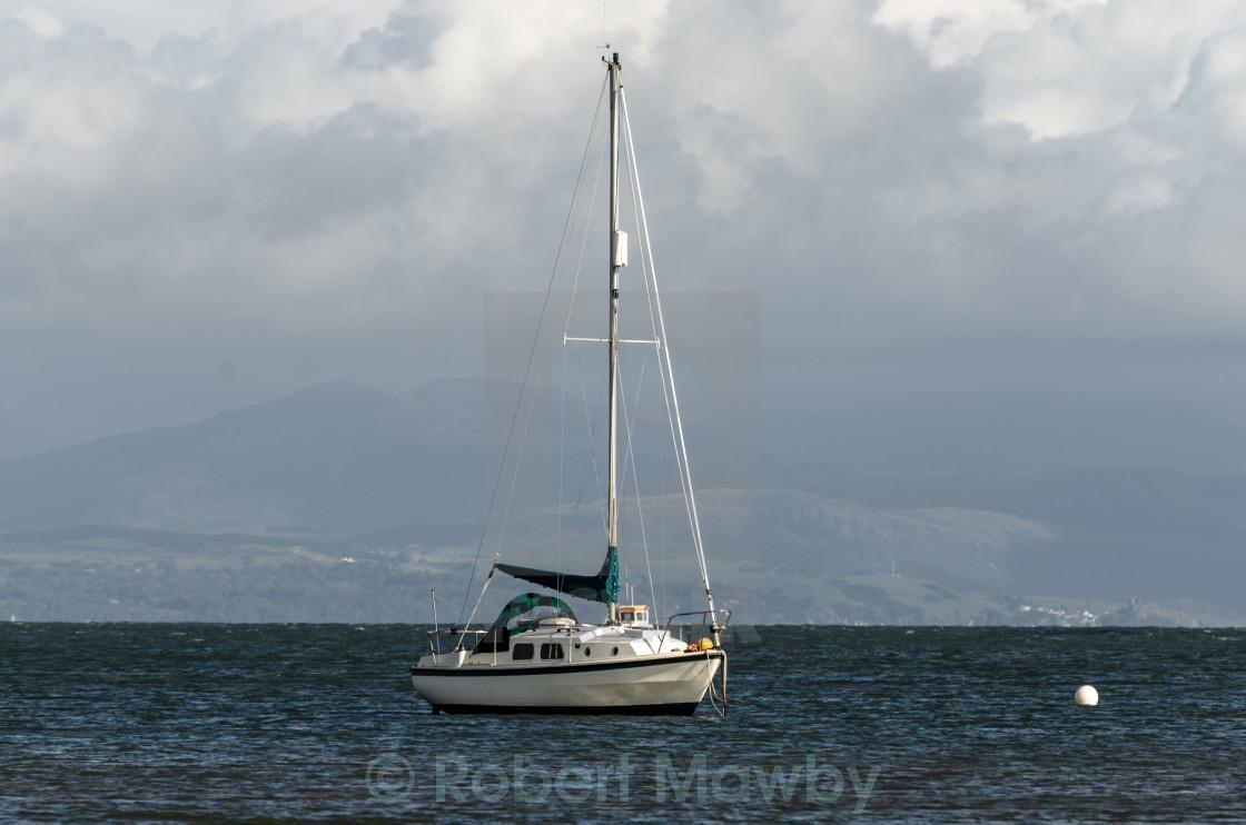 """Yacht at Anchor"" stock image"