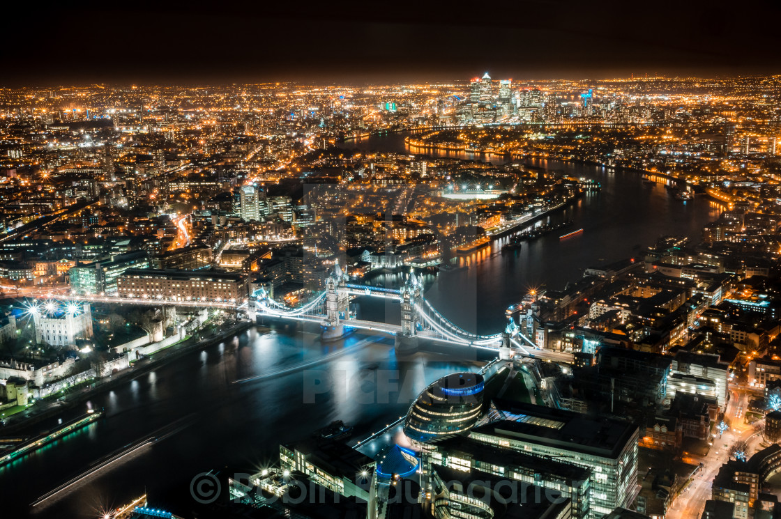 """""""Looking east from the Shard at Night"""" stock image"""