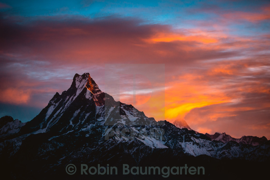 """Sunrise over Fishtail Mountain, Nepal"" stock image"