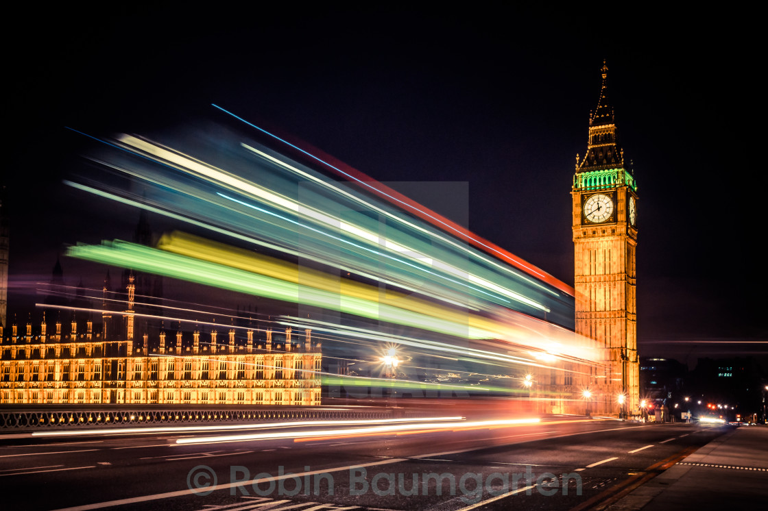 """Big Ben & Bus Long Exposure"" stock image"