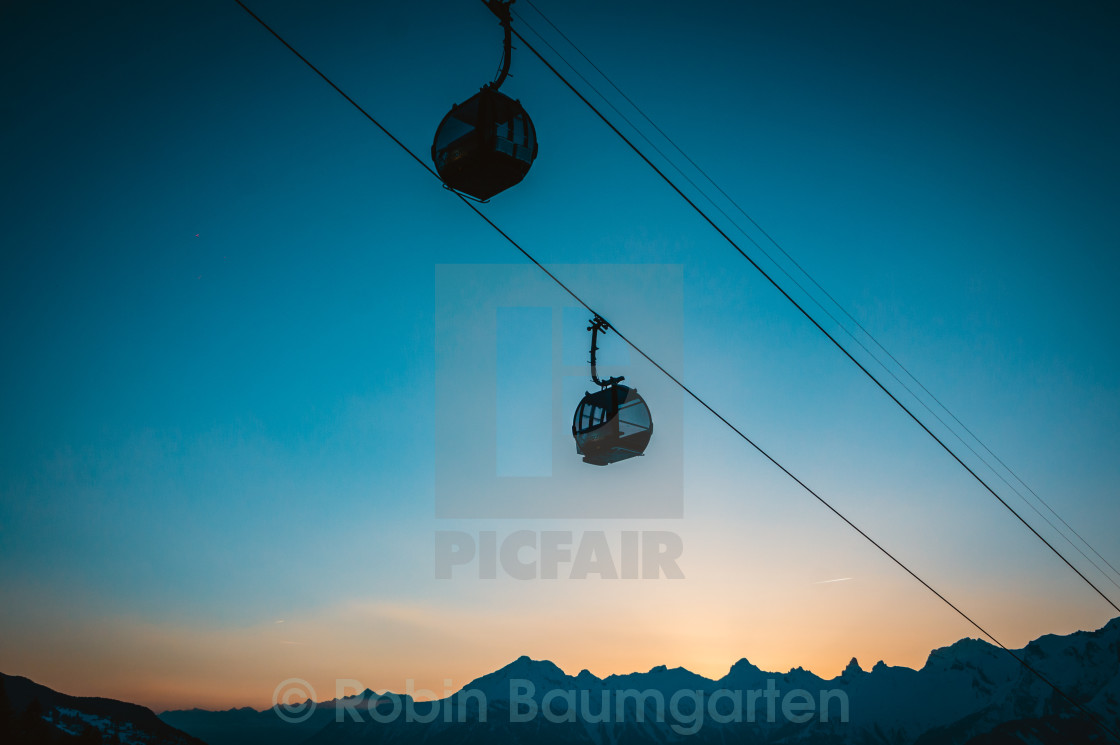 """Ski lift at Night"" stock image"