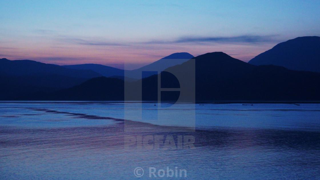 """Sunset Loch"" stock image"