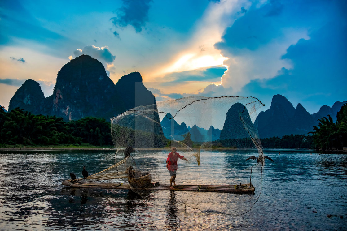 """Fisherman on the Li River, China"" stock image"