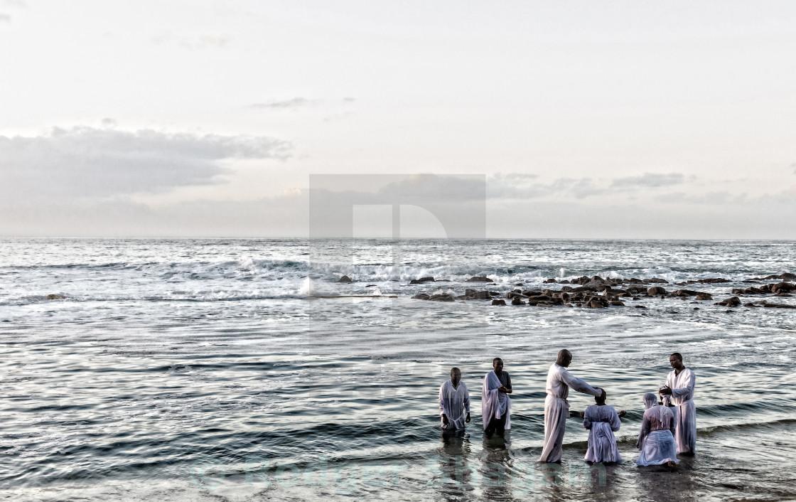 """Early morning baptism"" stock image"