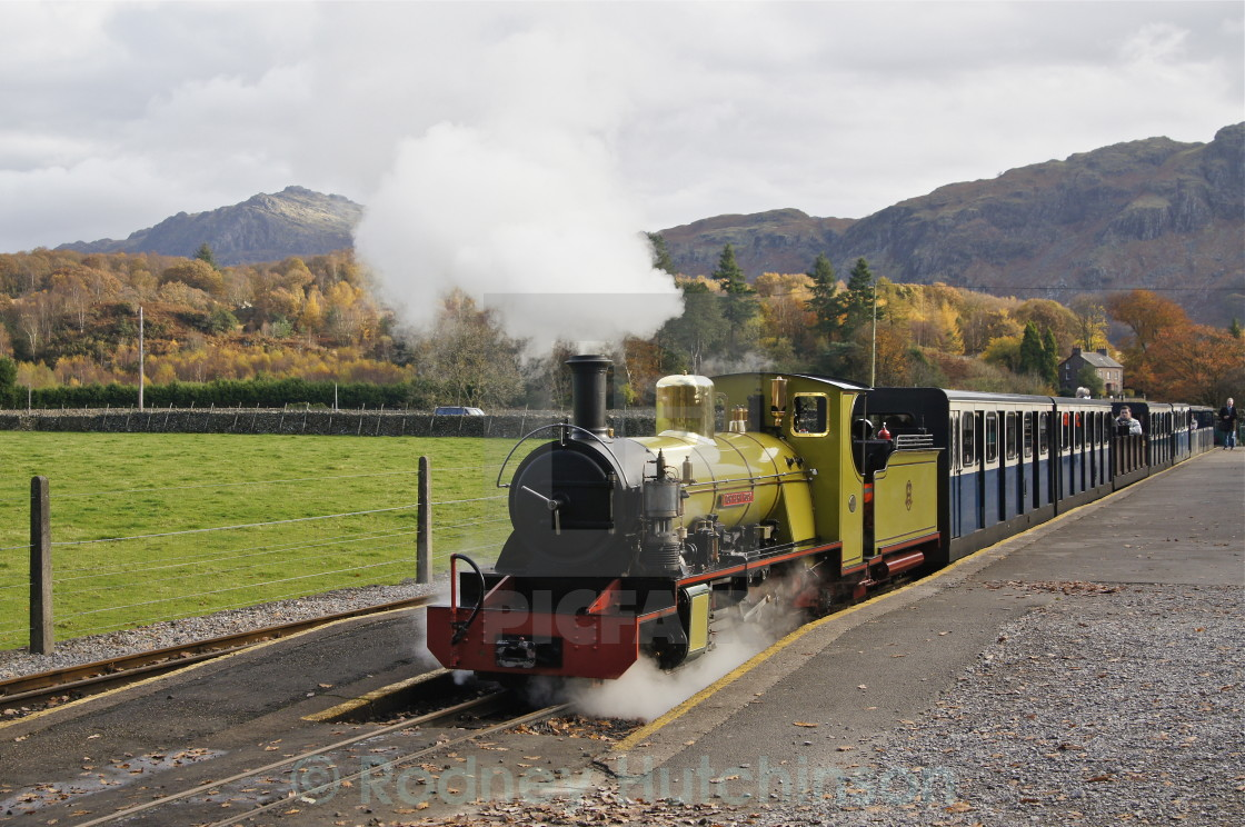 """Northern Rock Narrow Gauge Steam loco, Cumbria"" stock image"