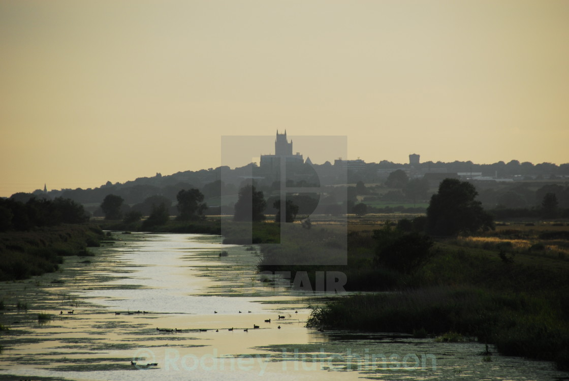 """Lincoln Cathedral at dusk"" stock image"