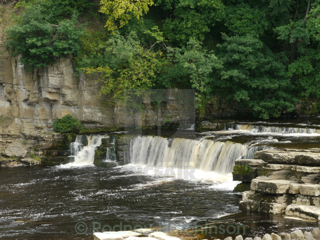 """River Swale Waterfall Richmond"" stock image"
