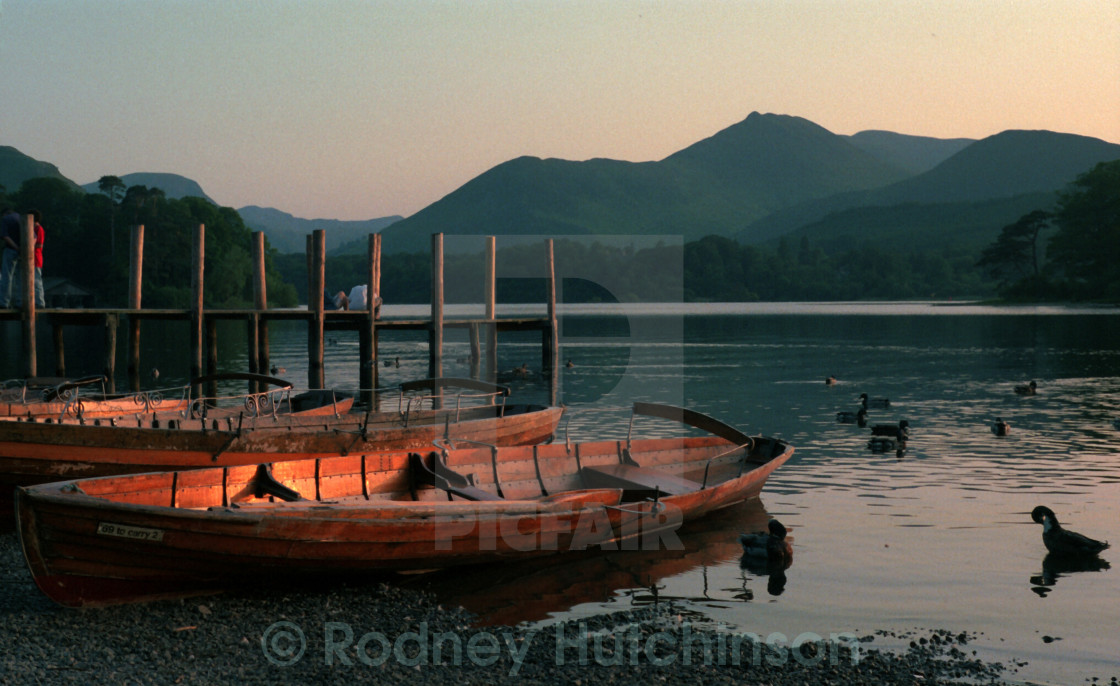 """Late Evening Derwent Water."" stock image"