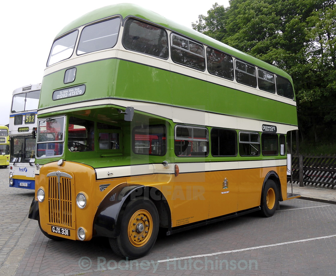"""1956 Daimler CVG6 Double Decker Bus"" stock image"