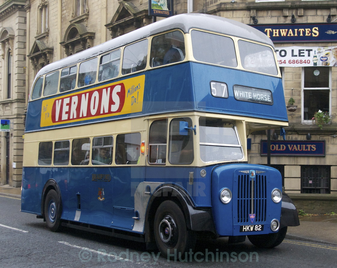 """1952 AEC Regent 111 Double Decker Bus"" stock image"