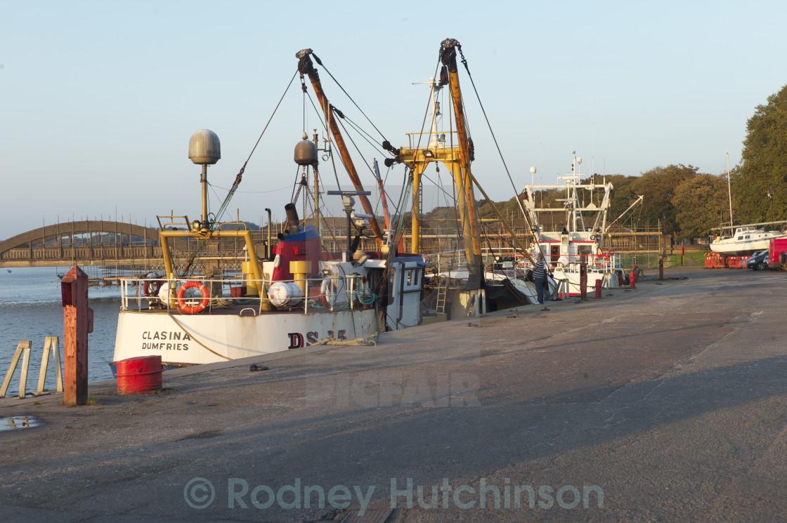 """""""Ships at Dusk Kirkcudbright Harbor"""" stock image"""