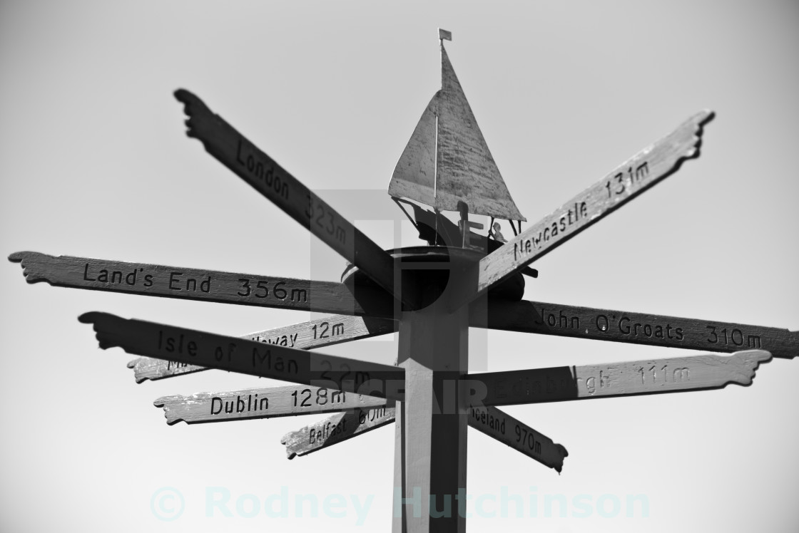 """""""Mileage Post, Dumfries and Galloway,"""" stock image"""