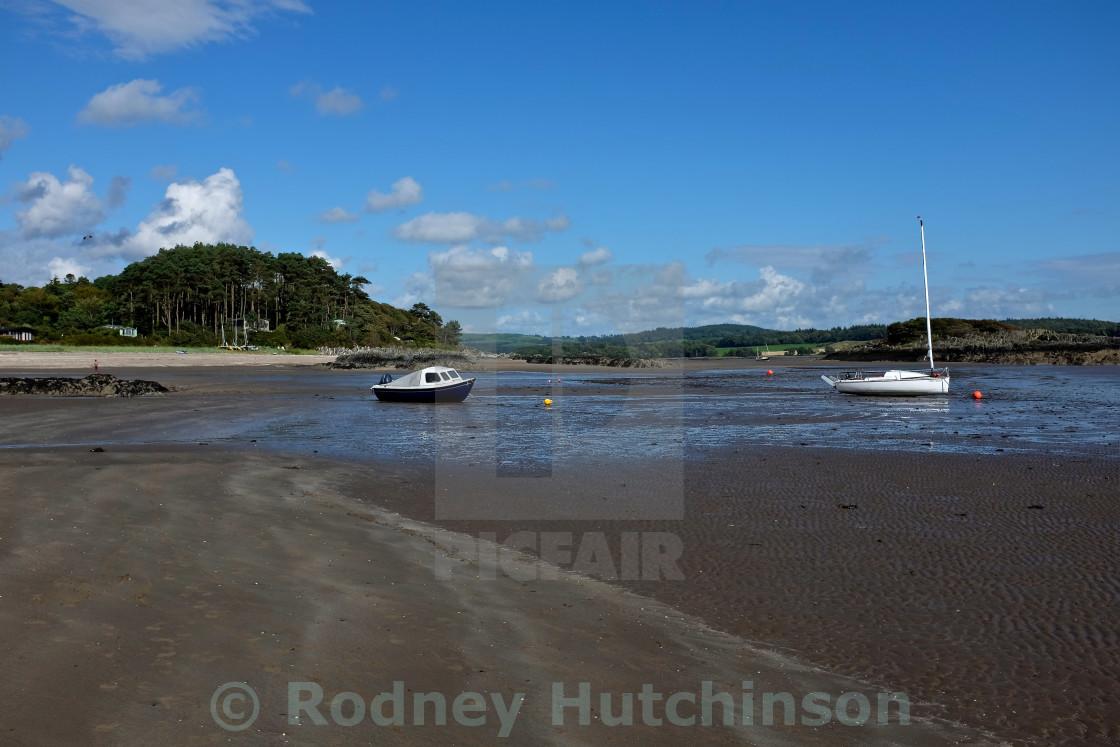 """""""Boats at Dalavan Bay, Dumfries and Galloway."""" stock image"""