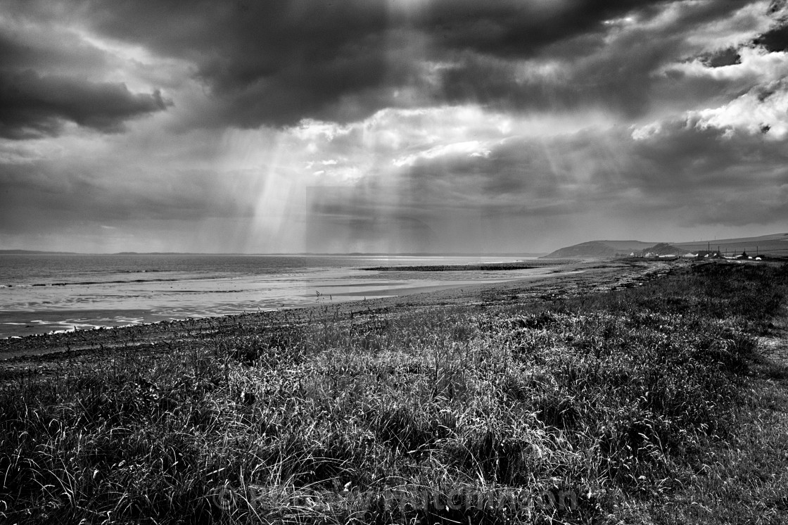 """""""Sea, Sunlight & Storm clouds, Dumfries and Galloway,"""" stock image"""