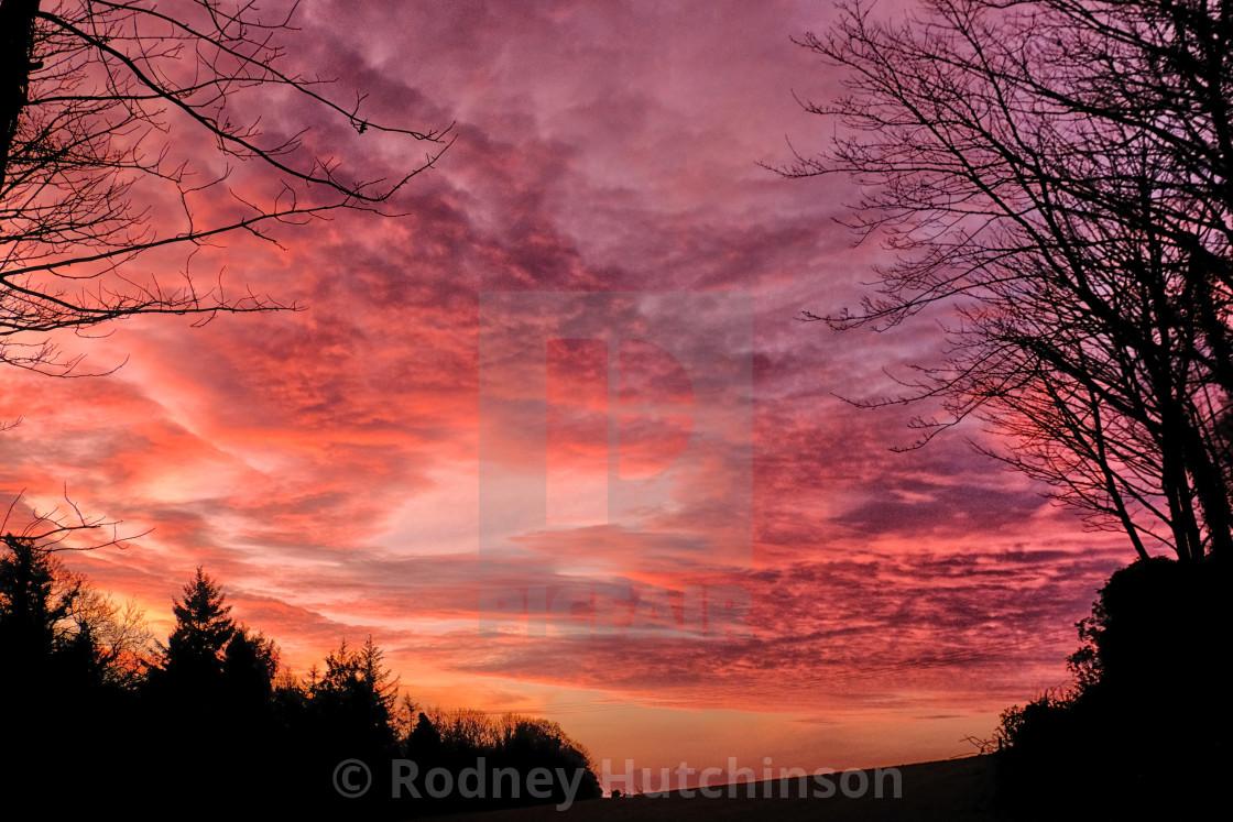 """Winters Dawn at Dunragit"" stock image"