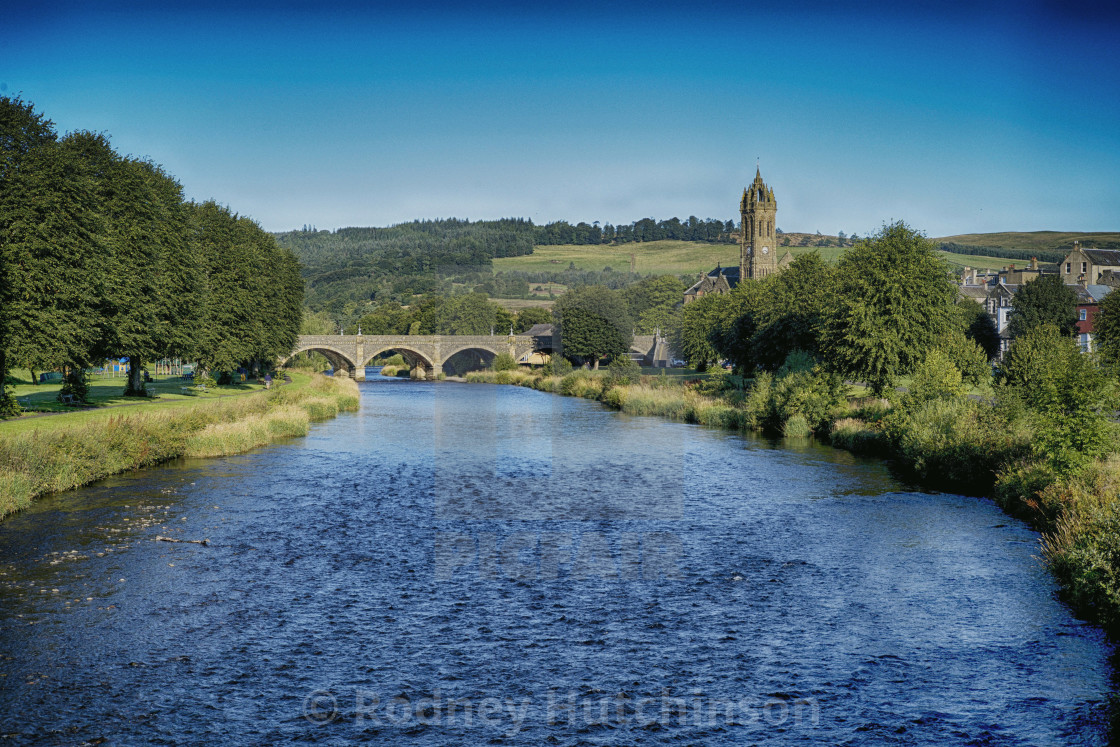 """Peebles and the River Tweed,"" stock image"