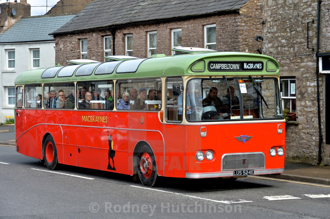 """AEC Reliance Coach in Mac Braynes livery"" stock image"