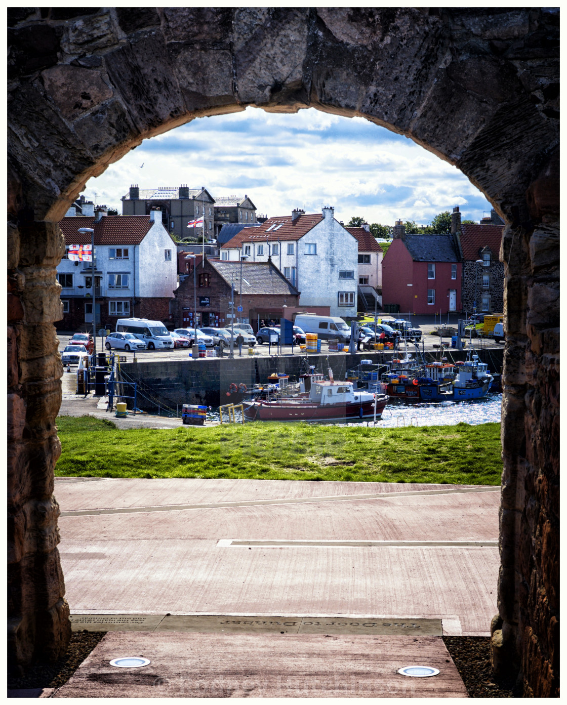 """Dunbar Habour from the Fort, Scotland"" stock image"