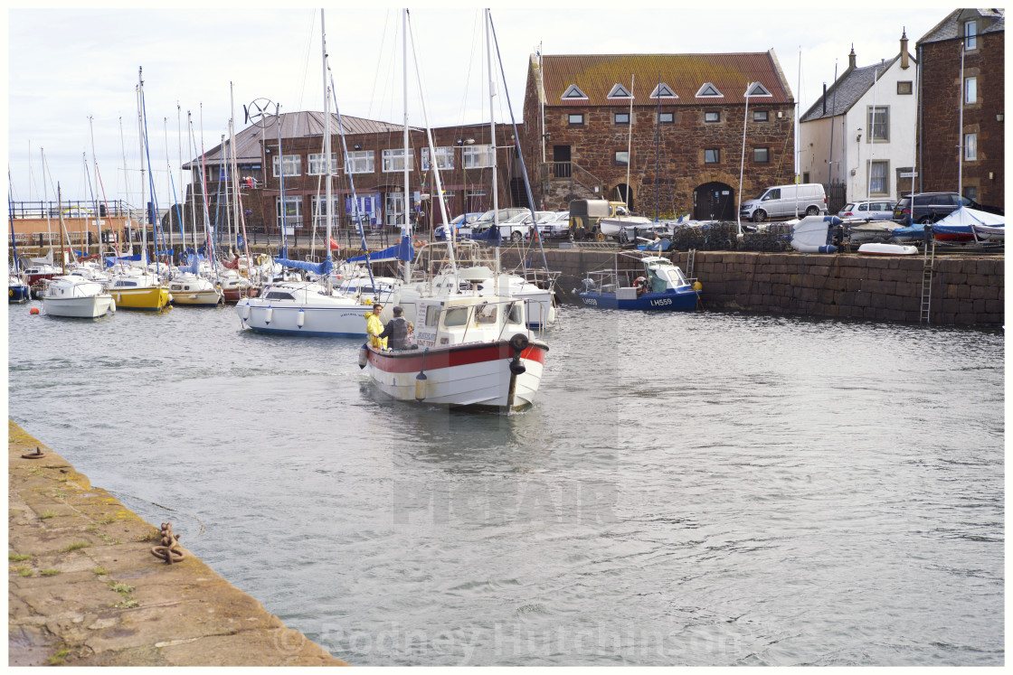 """Leaving North Berwick Harbour Scotland."" stock image"