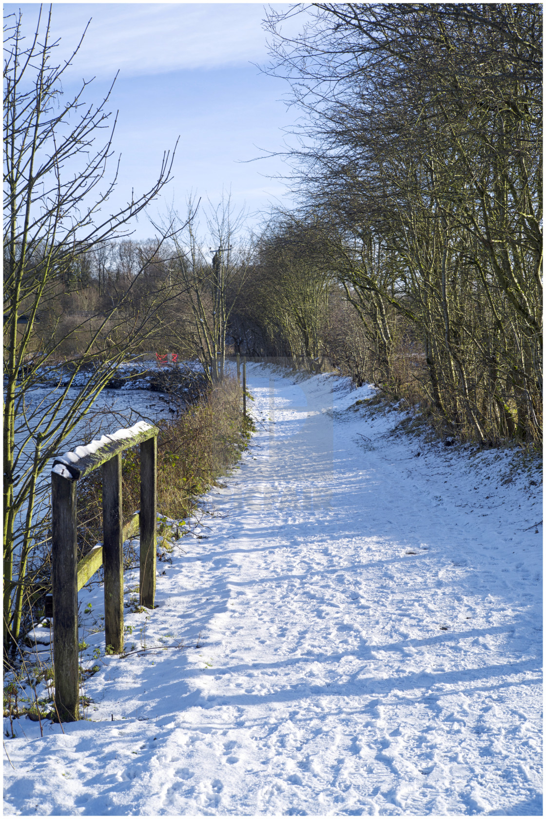 """Riverside Path in snow"" stock image"