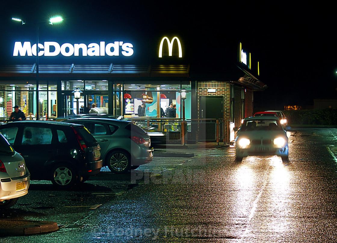 """McDonald's at night"" stock image"