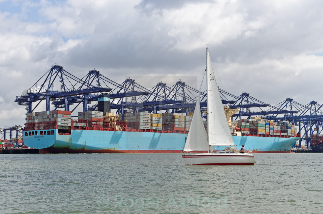 """Yacht Sailing in Harwich Harbour"" stock image"
