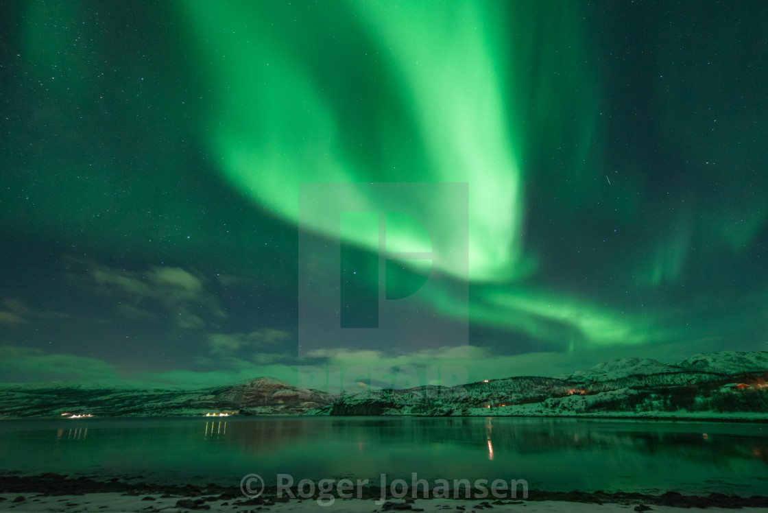 Northern lights above a small fjord