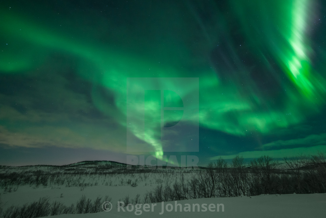 """""""Northern lights at mountain top"""" stock image"""